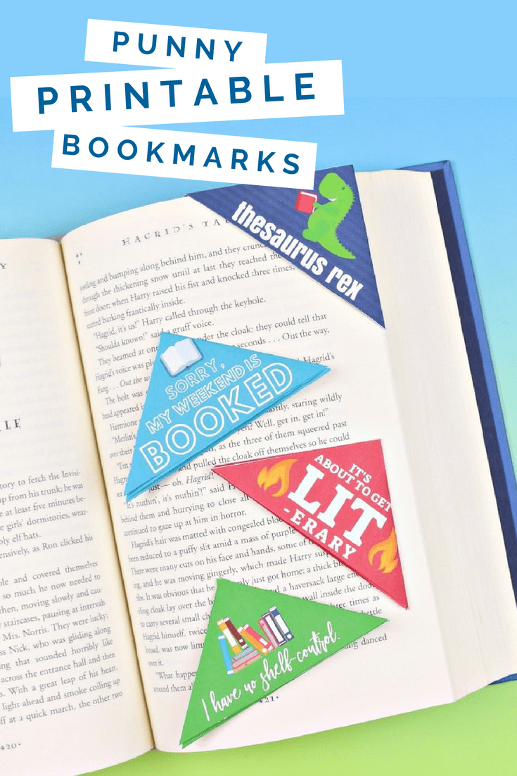 printed corner bookmarks on a book