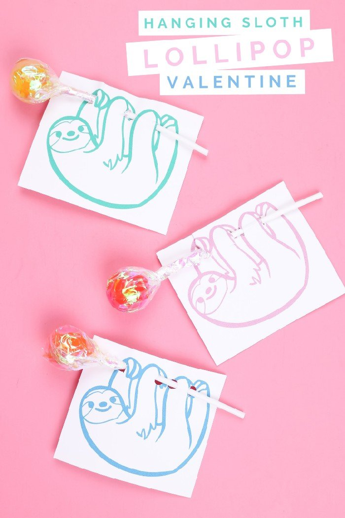 Three printed sloth valentine cards that hold lollipops