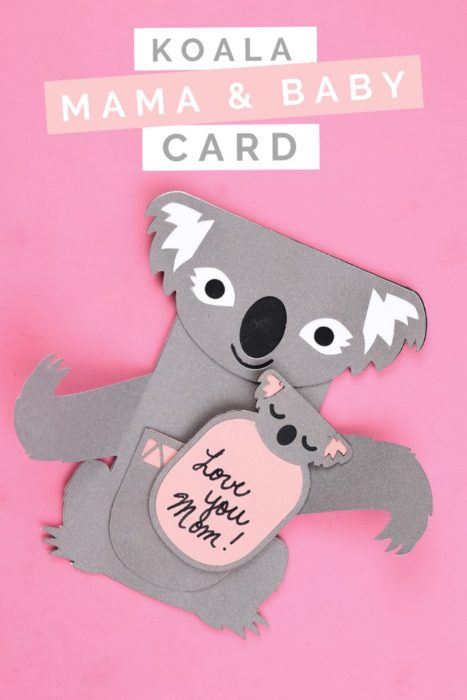 Cricut koala mother's day card on a pink background