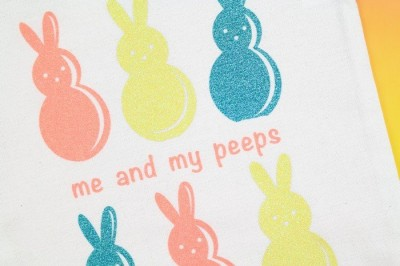 tote bag with glitter vinyl easter design