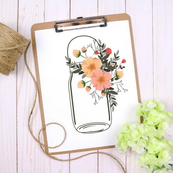 FLORAL MASON JAR BRIDAL SHOWER PRINTABLES