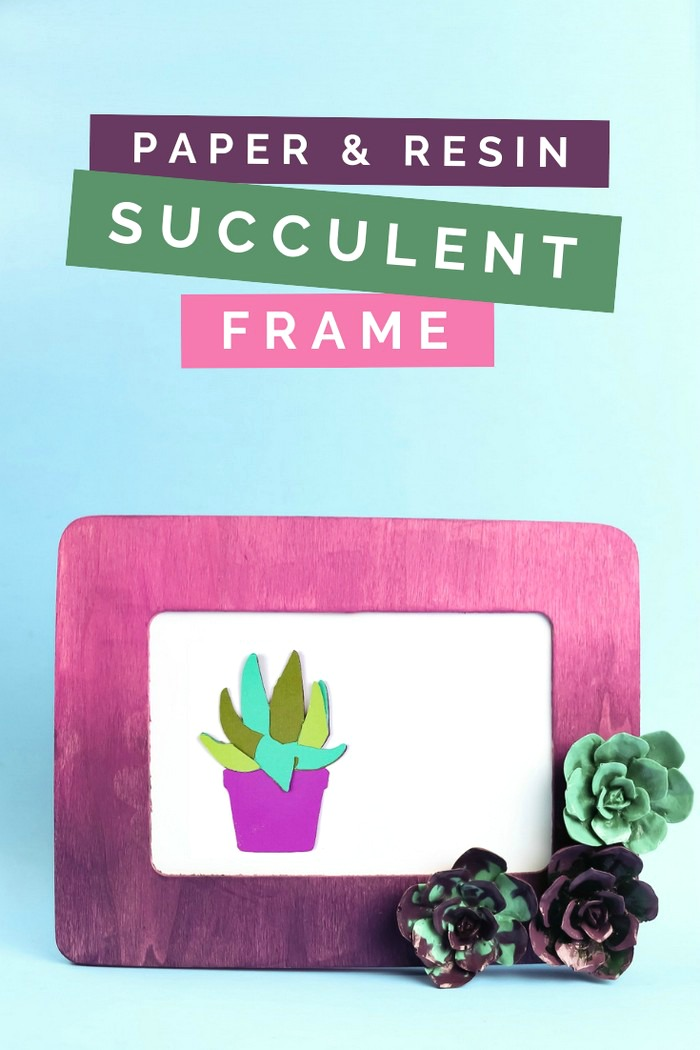 purple ombre frame with resin flower embellishments