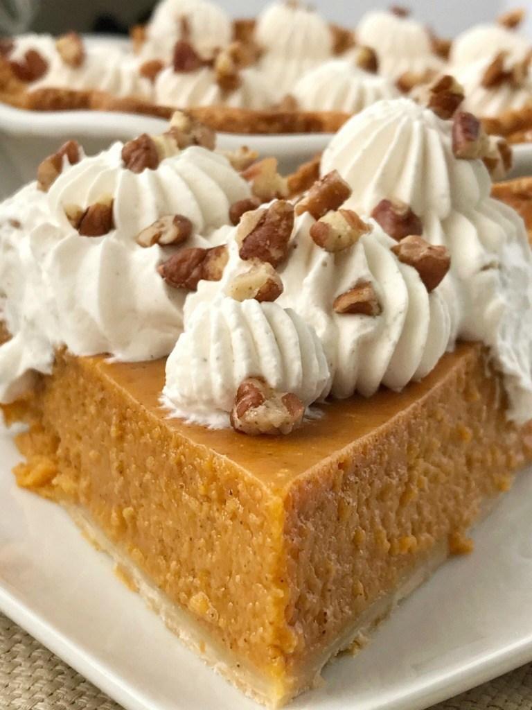 maple pumpkin pie on a plate