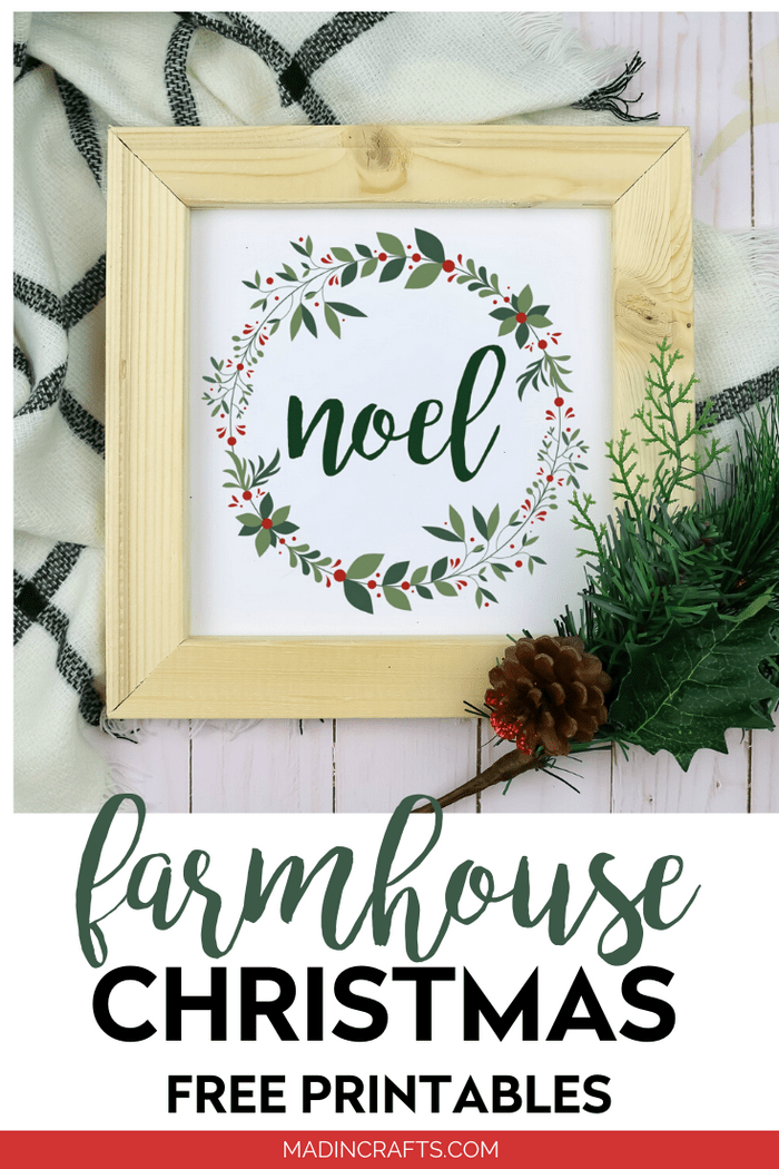 Noel printable in a wood frame with pine branch