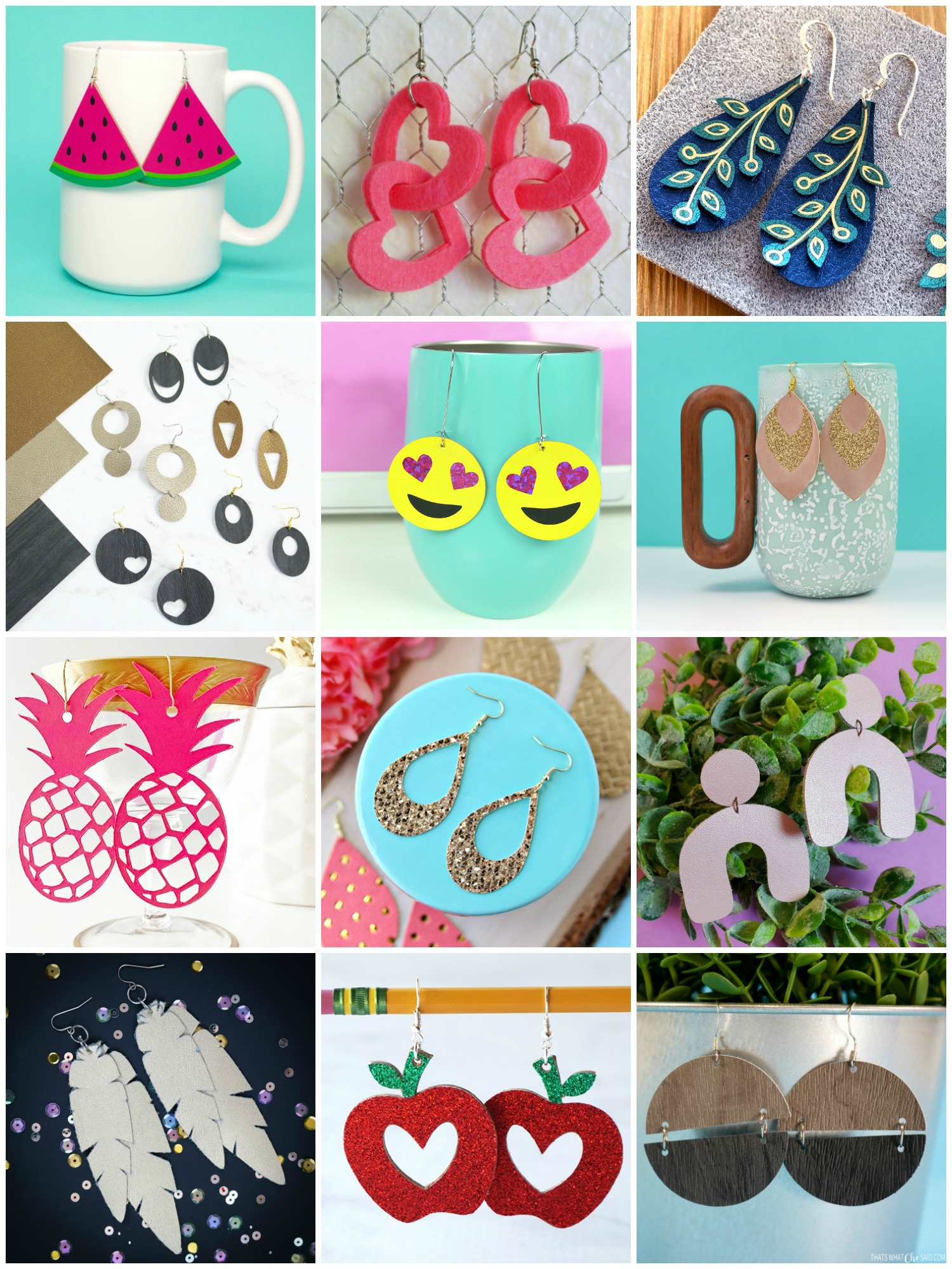 collage of DIY Cricut earring crafts