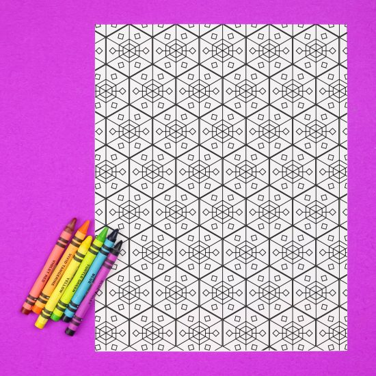 coloring page with crayons on a purple background