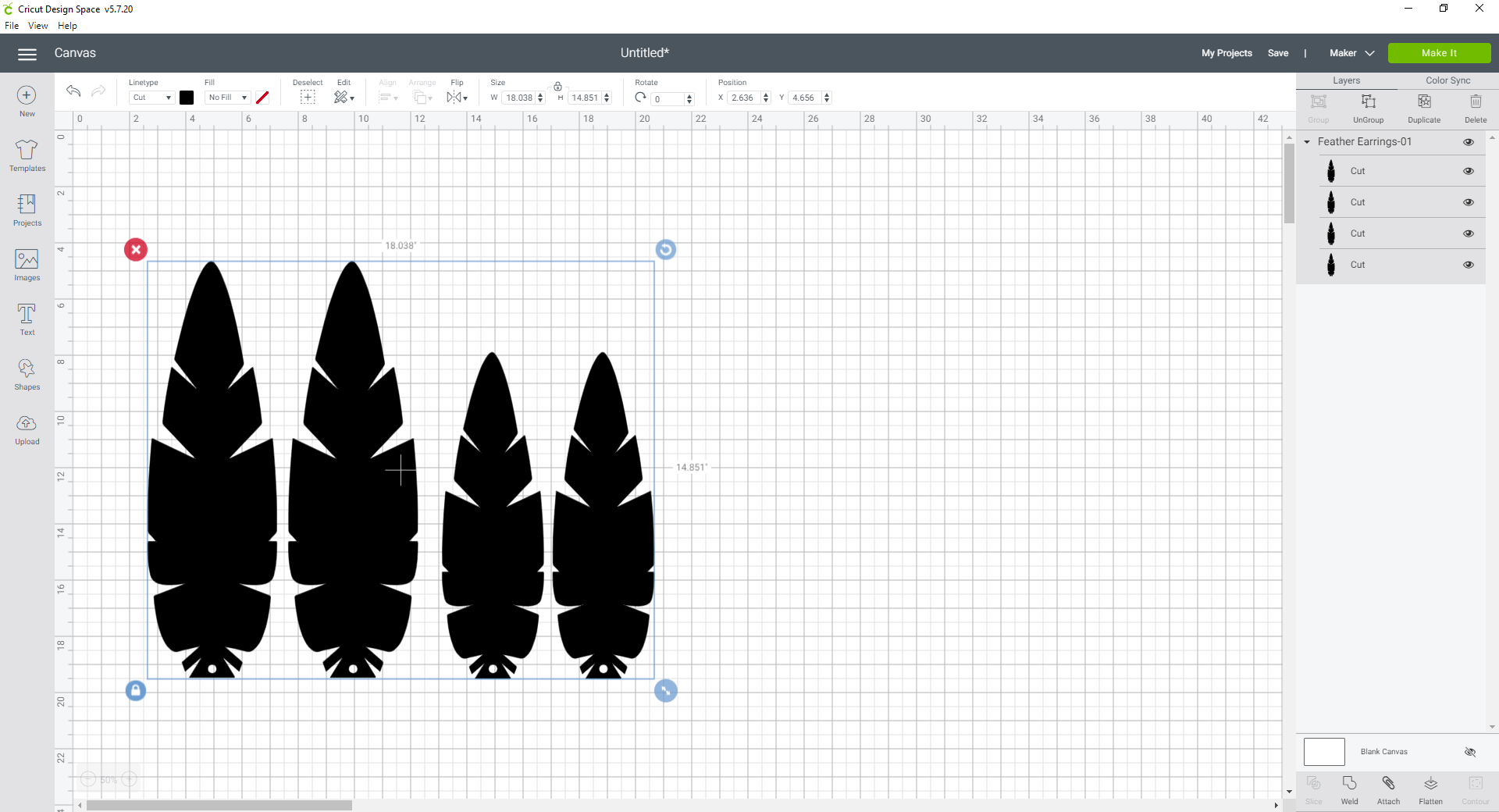 feather earring svg in design space