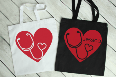 2 tote bags with stethoscope heart SVG design