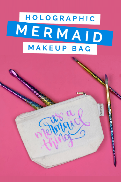 zipper pouch with a vinyl design that says it's a mermaid thing on a pink background with makeup brushes