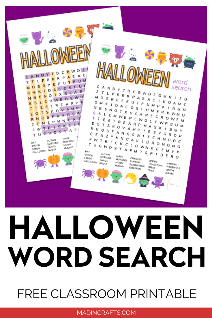 Halloween word search printables on purple background