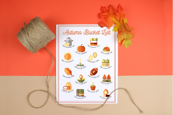 Autumn bucket list printable with twine on an orange and tan background