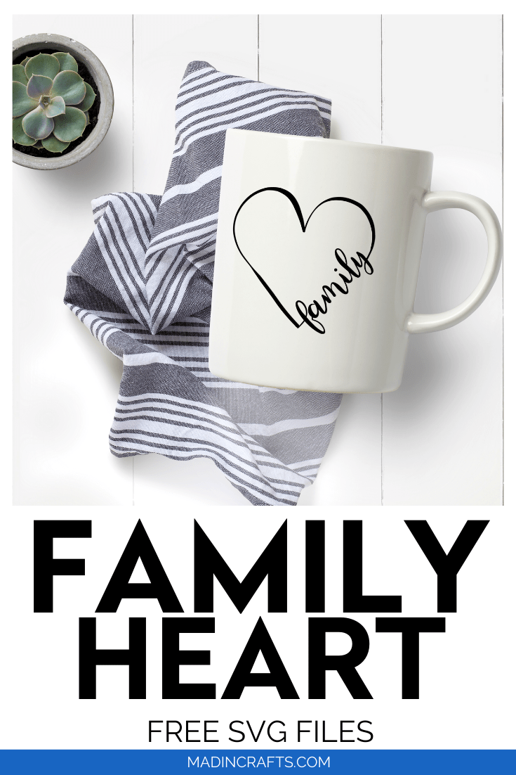 Family heart SVG design on a white mug next to succulents