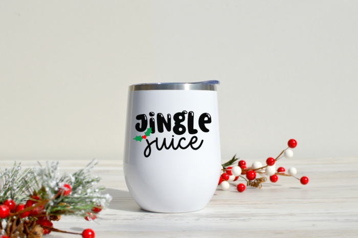 Jingle Juice SVG design on a white wine tumbler