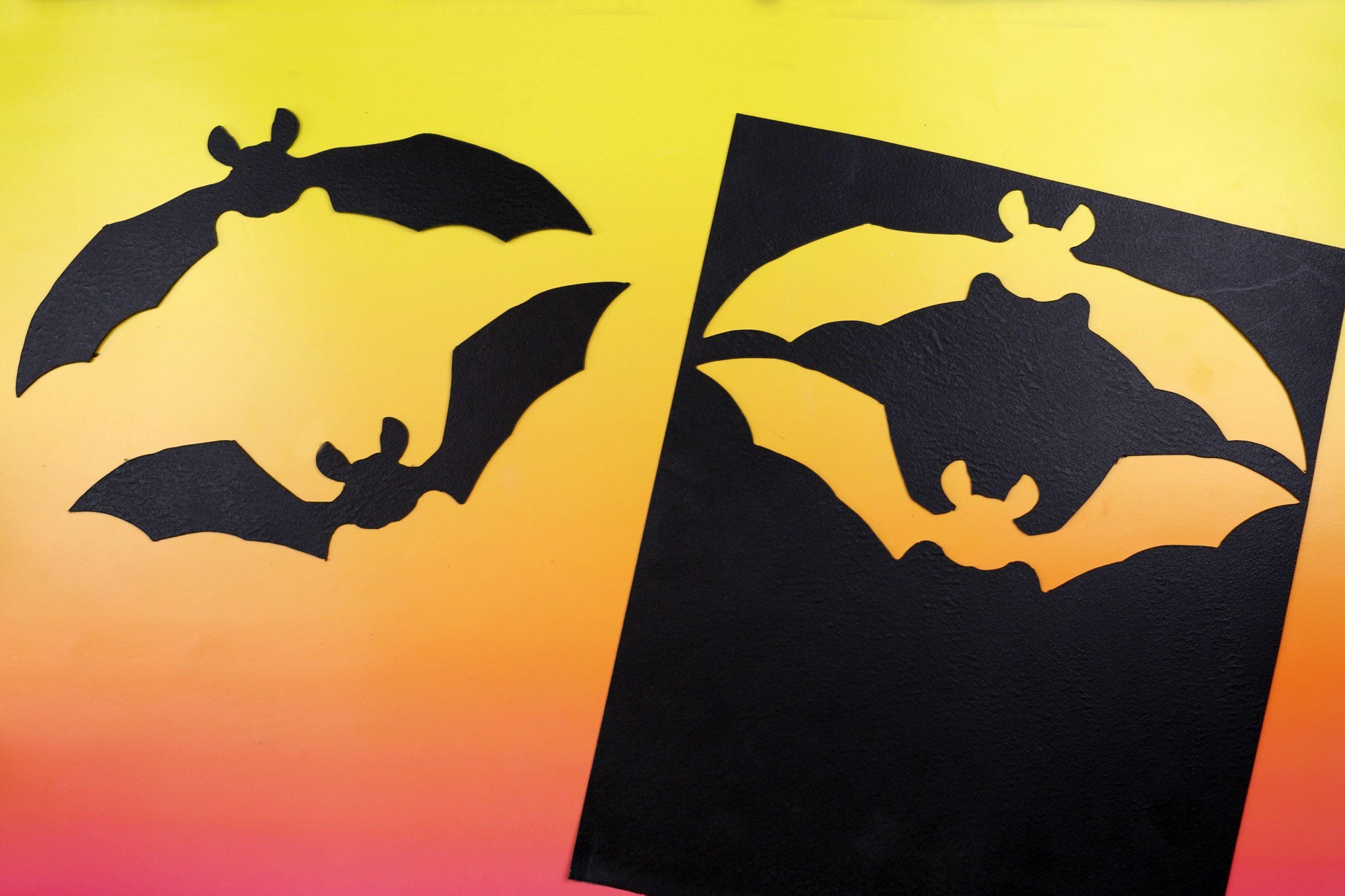 black bat shape cut out of worbla plastic