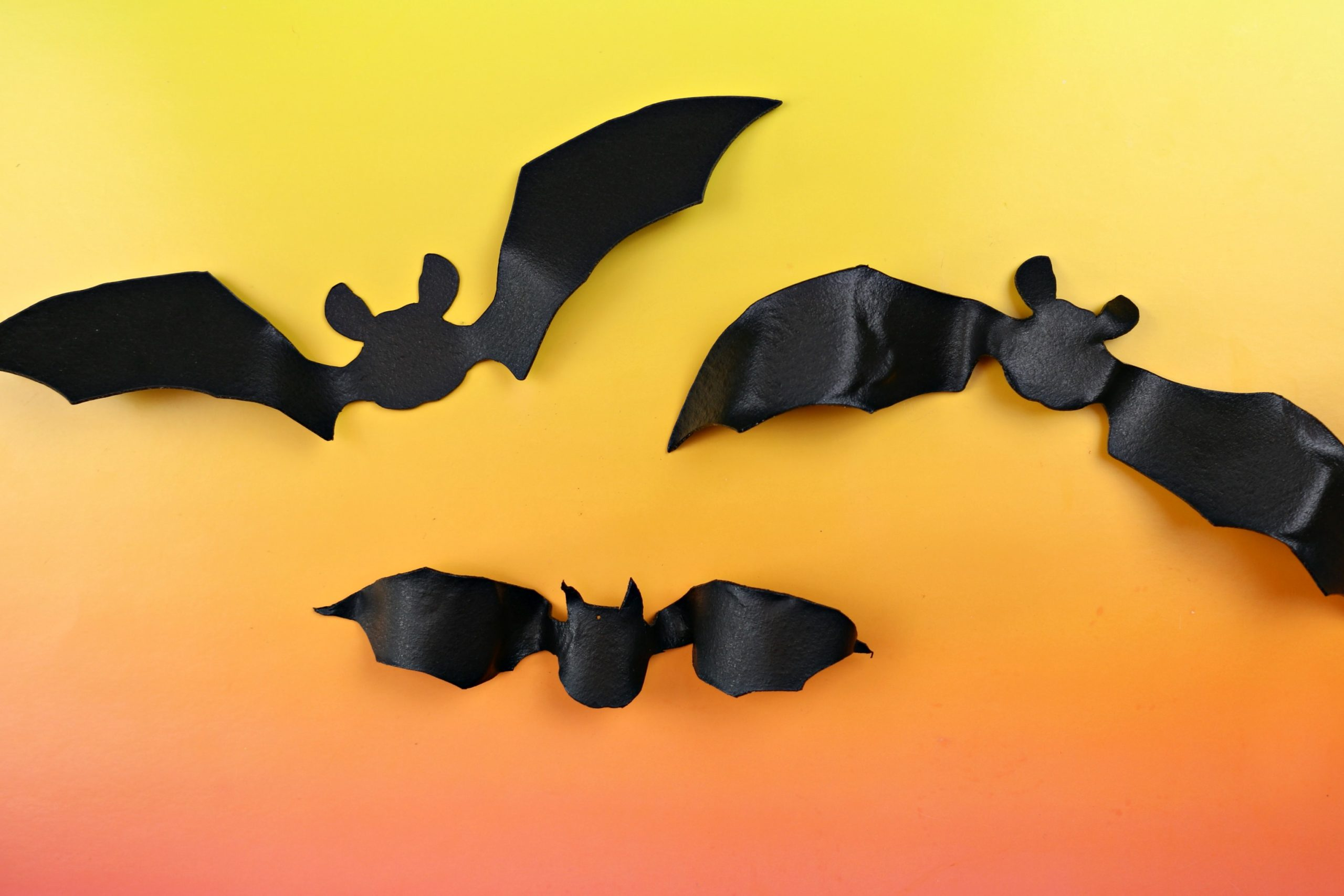 black bat shape cut out of worlba plastic