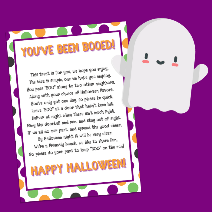 You\'ve Been Booed printable and cartoon ghost on a purple background
