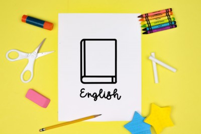 English subject SVG design on white paper with school supplies