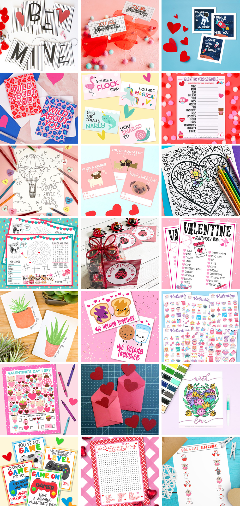 Collage of Printable Valentine Projects