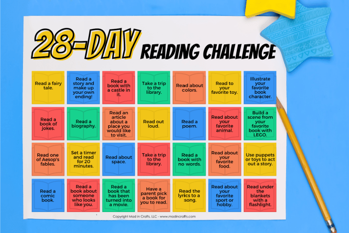 Colorful Printable reading challenge calendar on a blue background