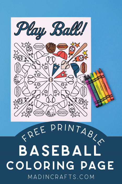 Baseball coloring page and crayons on a blue background