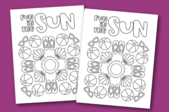 two summer coloring pages on a purple background