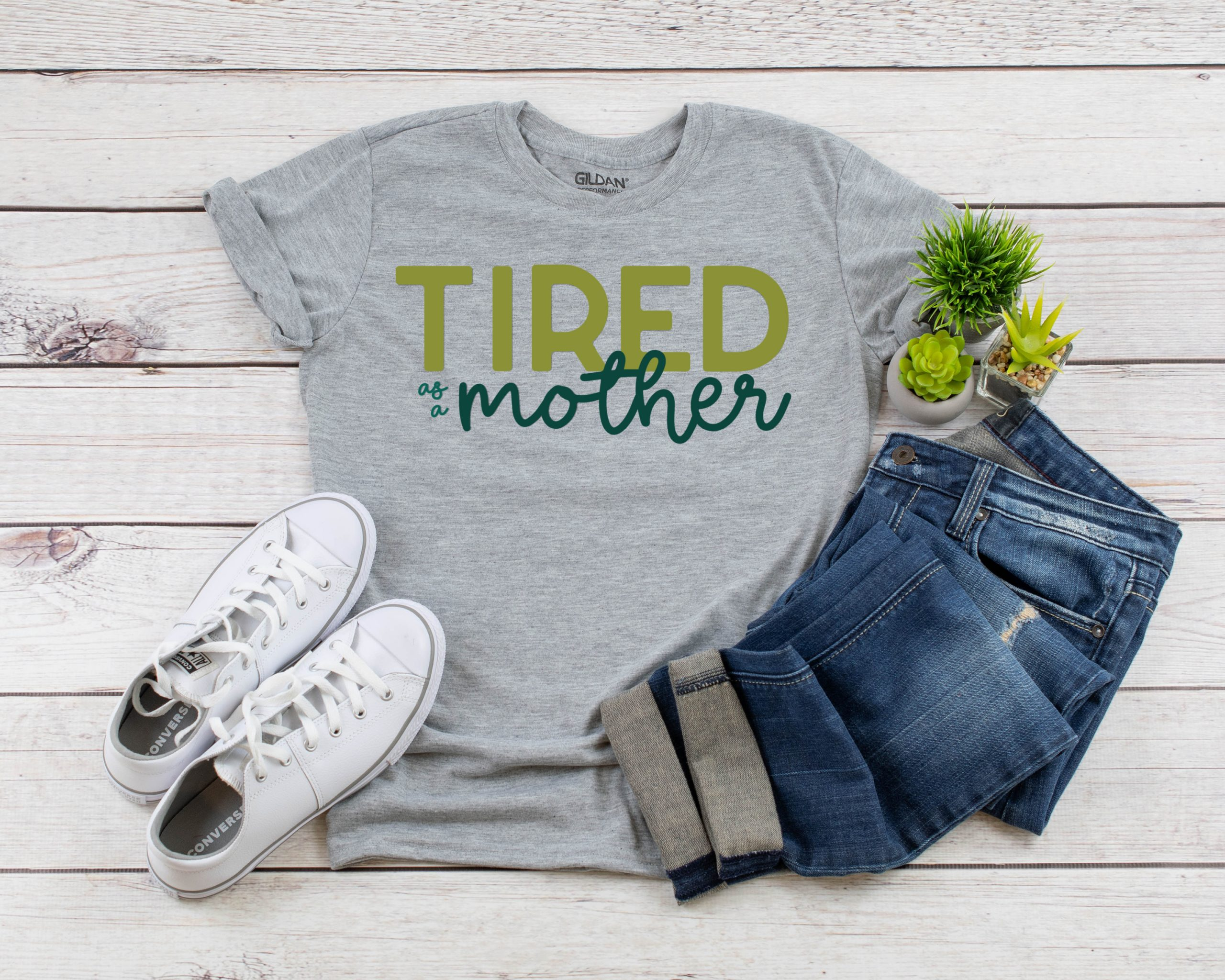 Free Tired as a Mother SVG on a t-shirt
