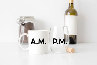 Coffee Mug and Stemless Wine glass on a counter