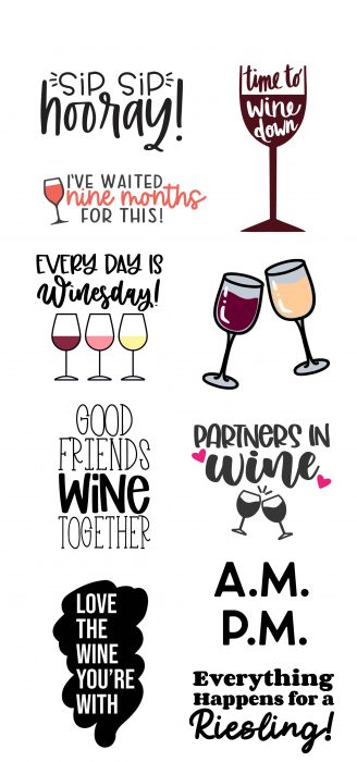 collage of wine themed svgs