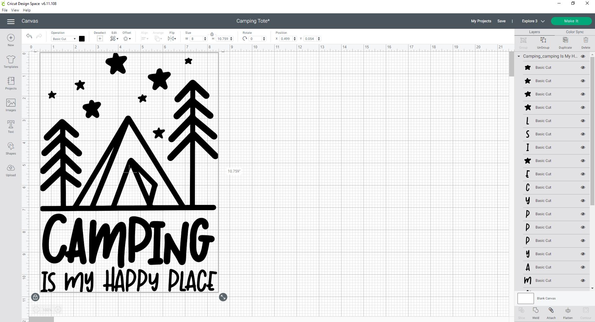 Cricut Design Space resize SVG design
