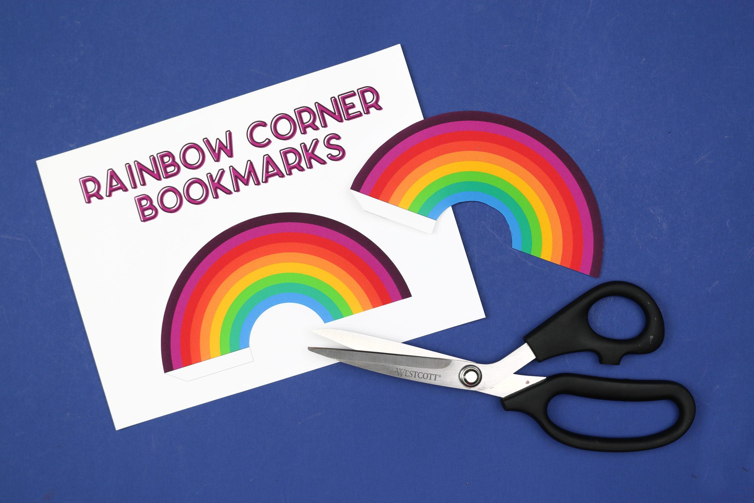 scissors and rainbow bookmarks