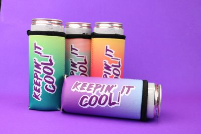 four slim can koozies with layered vinyl designs