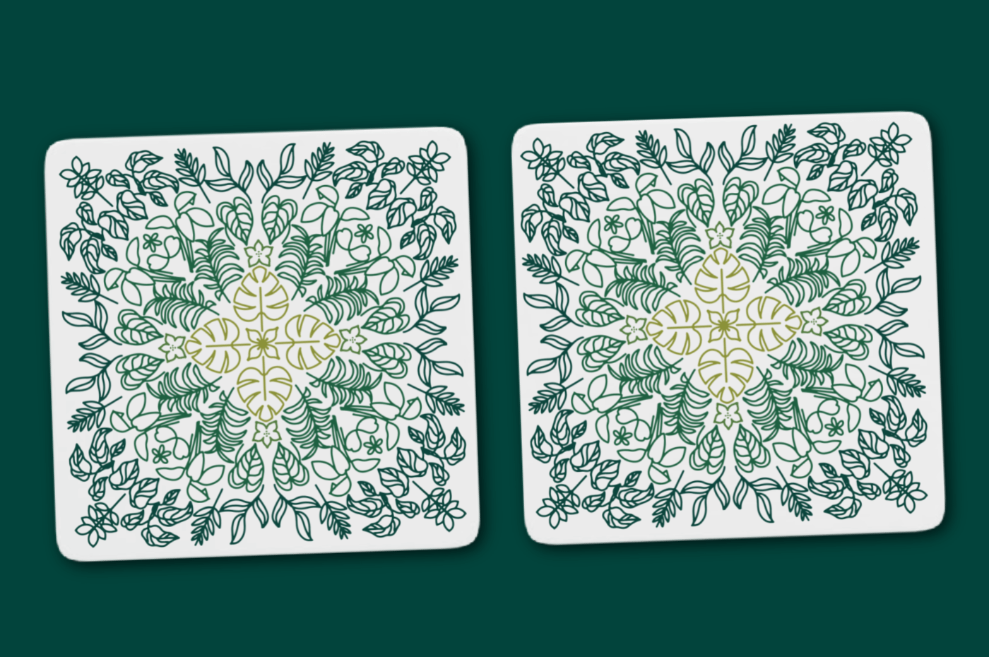square coasters with plant designs on a green background