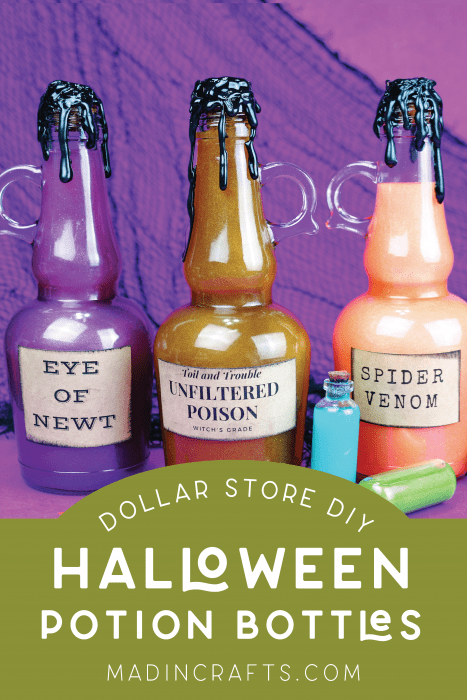 three dollar store Halloween potion bottles with labels