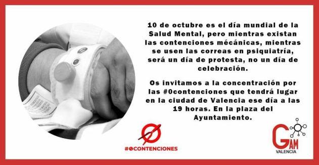 Cartel convocando a la concentración por #0contenciones en Valencia