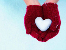 heart gloves winter