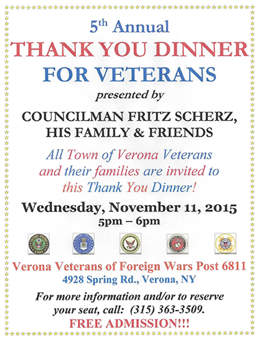 Free Talk Wednesday November 5th In >> Councilman Plans 5th Thank You Dinner For Verona Veterans Madison