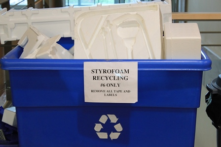 Stryrofoam-Recycling1 bin remove tape and labels