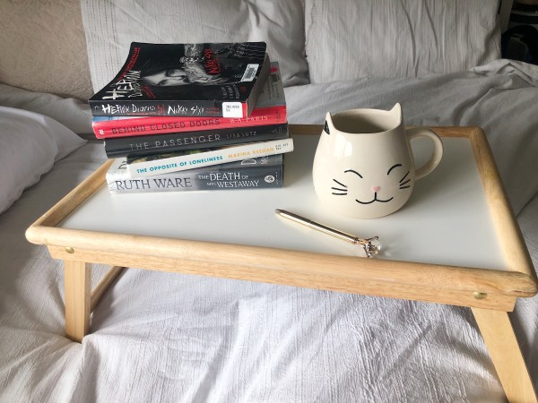 My five August books and teacup