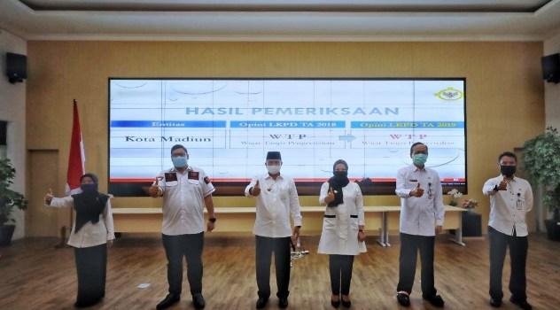 Ditengah Pandemi Covid 19,Kota Madiun meraih WTP Kali Ketiga Berturut, Laporan Hasil Pemeriksaan Kota Madiun Juga yang Tercepat di Jatim Tahun Ini.