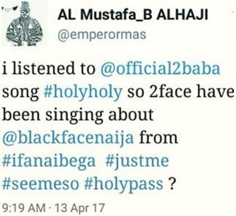 Blackface rant on 2Face