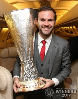 United . Celebrating Europa League victory in the air 9