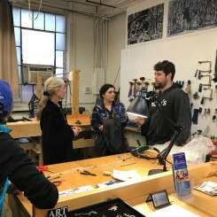 At Raychel Wengenroth's Hudson Valley Silverworks, the jewelry school located in the Shirt Factory, visitors were invited to participate in a hands-on demonstration.