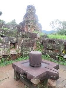 Linga assembled into square Yoni at Mỹ Sơn Vietnam