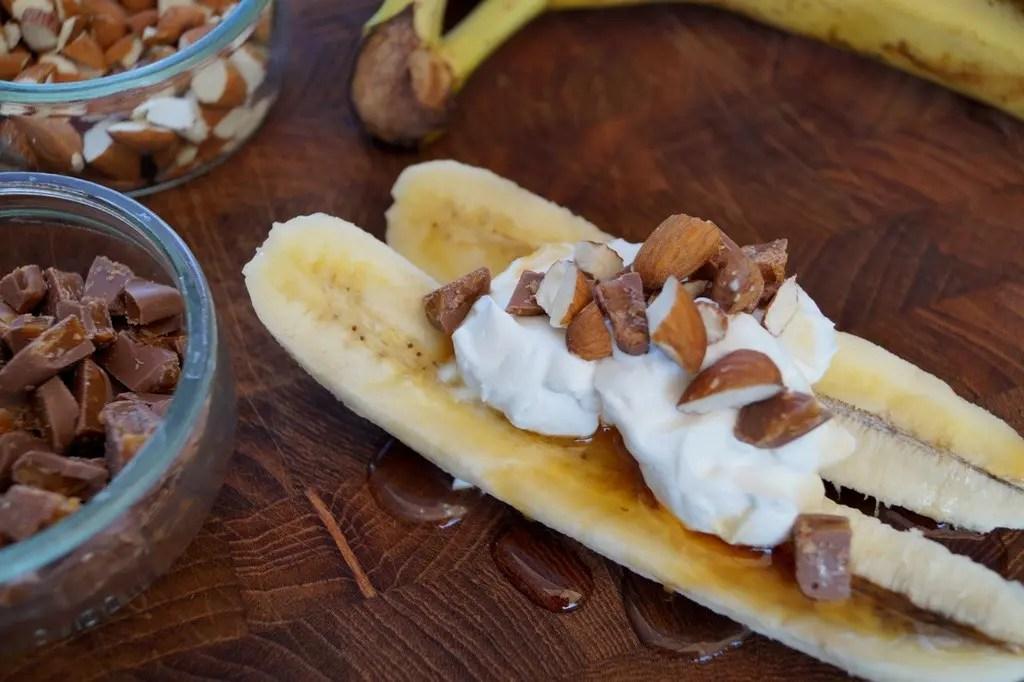 Dessert med banan og Daim
