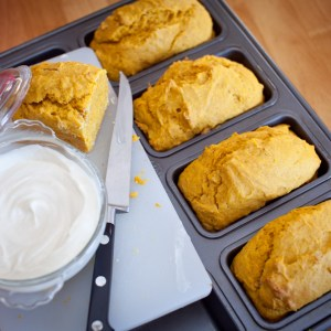 Pumpkin Bread and Sweetened Cream Cheese Spread