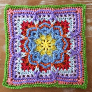 Lucky Thirteen Granny Square-Blue and Yellow