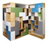 Tetris Shelving.  Looks like tetris shaped cubby holes