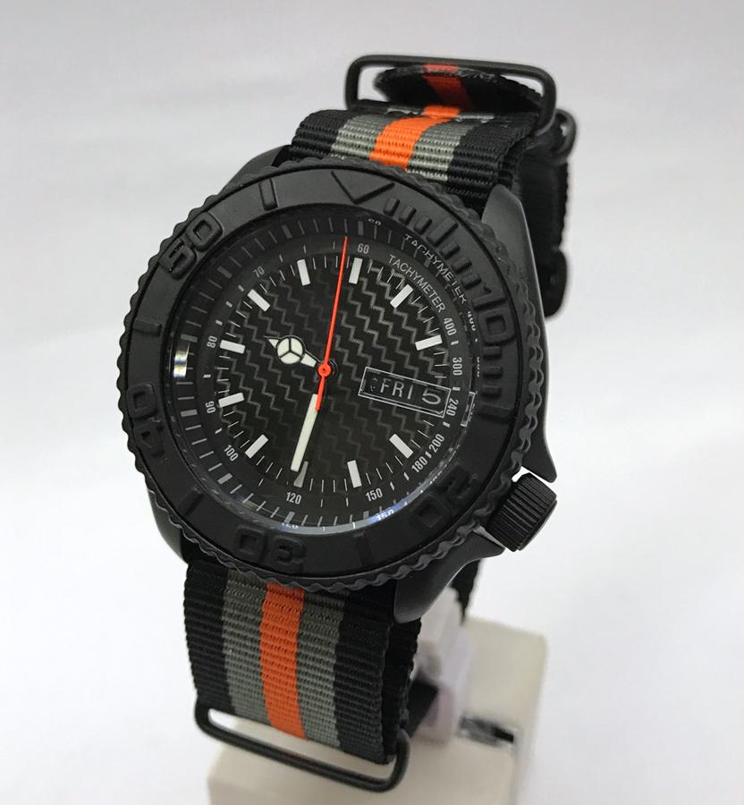 pre sale seiko mod 7s26 skx007 black cerakote custom tachymeter dial