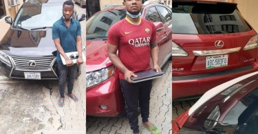 The suspected internet fraudsters after they were caught