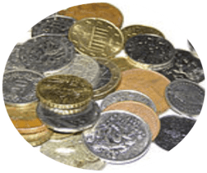 Ansammlung von diversen Münzen